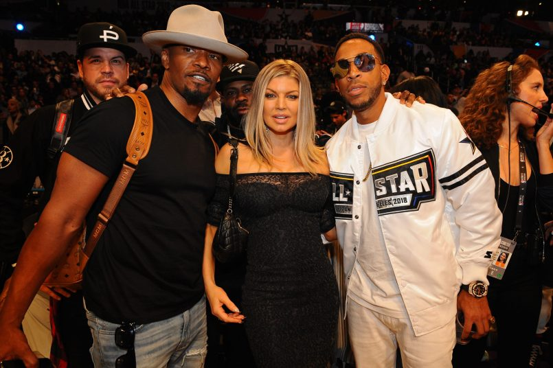 LOS ANGELES, CA - FEBRUARY 18: Jamie Foxx, Fergie and Ludacris attend the NBA All-Star Game as a part of 2018 NBA All-Star Weekend at STAPLES Center on February 18, 2018 in Los Angeles, California. NOTE TO USER: User expressly acknowledges and agrees that, by downloading and/or using this photograph, user is consenting to the terms and conditions of the Getty Images License Agreement. Mandatory Copyright Notice: Copyright 2018 NBAE (Photo by Juan Ocampo/NBAE via Getty Images)