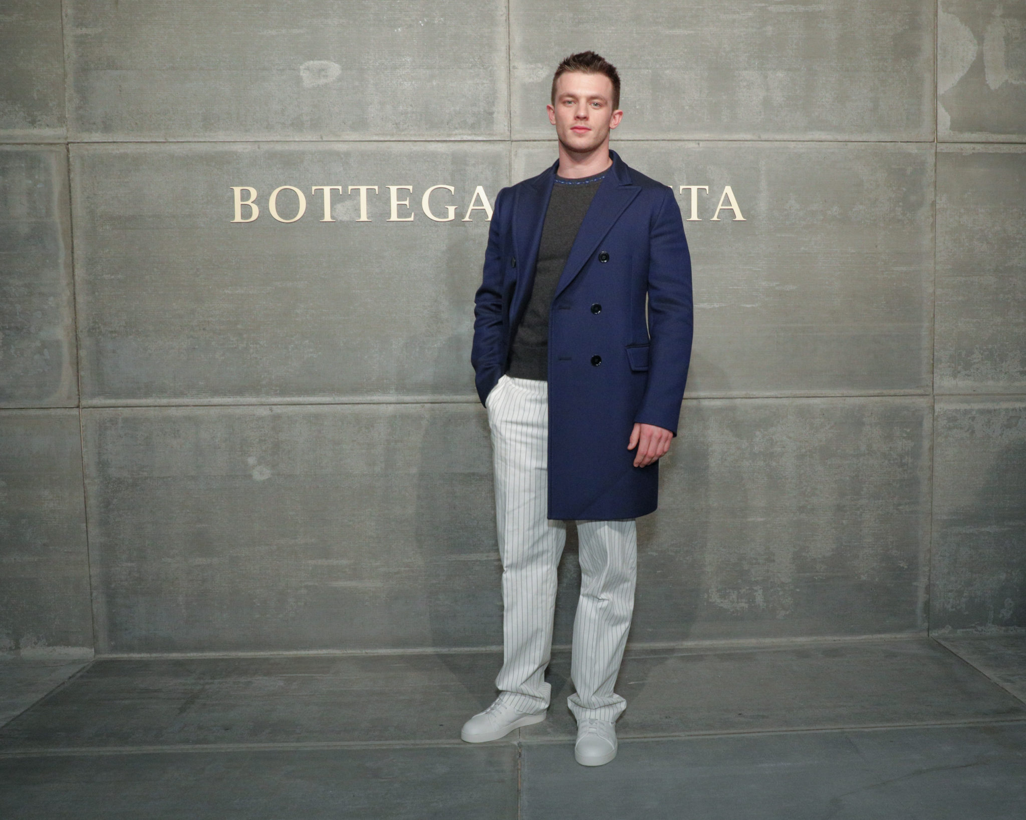 Jannis Niewohner, At the Bottega Veneta Fall Winter 2018 show at the American Stock Exchange in New York City