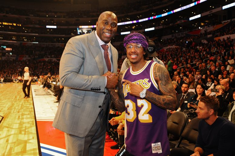 LOS ANGELES, CA - FEBRUARY 18: Magic Johnson and Nick Cannon pose for a photo during the NBA All-Star Game as a part of 2018 NBA All-Star Weekend at STAPLES Center on February 18, 2018 in Los Angeles, California. NOTE TO USER: User expressly acknowledges and agrees that, by downloading and/or using this photograph, user is consenting to the terms and conditions of the Getty Images License Agreement. Mandatory Copyright Notice: Copyright 2018 NBAE (Photo by Juan Ocampo/NBAE via Getty Images)