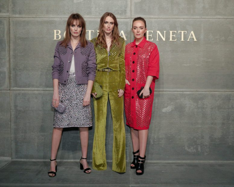 Violet Manners, Alice Manners, Eliza Manners, At the Bottega Veneta Fall Winter 2018 show at the American Stock Exchange in New York City