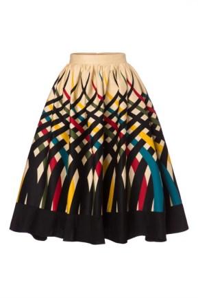 Vixen- Emma Border Swing Skirt Années 60 en Crème - EUR 44,95
