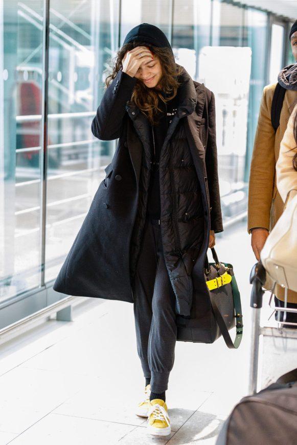 Zendaya flies out of the UK after attending the BAFTAS in London.19 February 2018 Pictured: Zendaya Ref: SPL1661386 190218 Picture by: Splash News Splash News and Pictures Los Angeles: 310-821-2666 New York: 212-619-2666 London: 870-934-2666 photodesk@splashnews.com