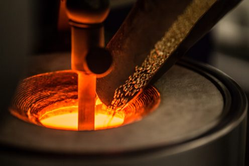 7. Pouring the fairmined gold in the mold