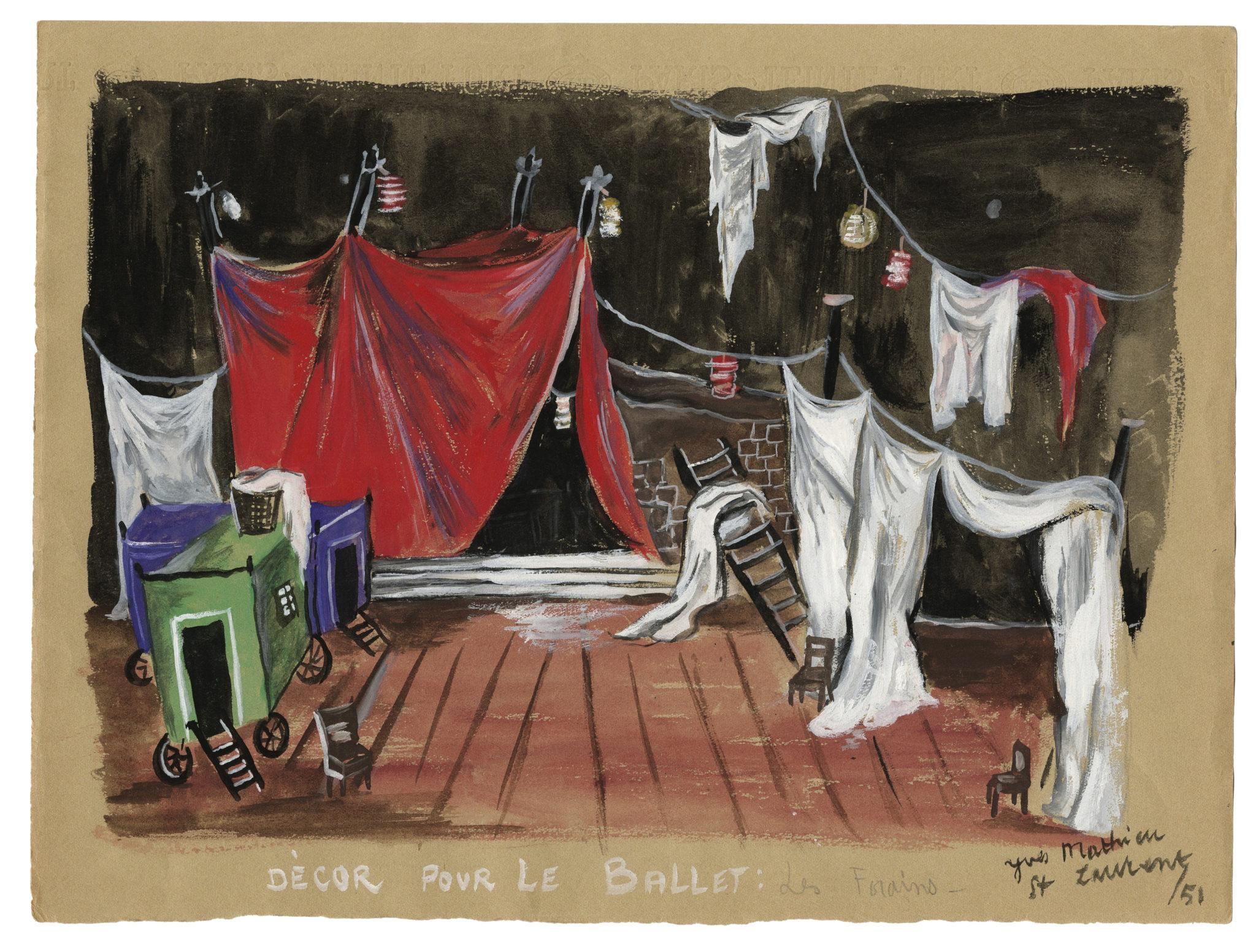 9 - Croquis de décor (non réalisé) pour le ballet Les Forains d'Henri Sauguet, 1951 © Fondation Pierre Bergé - Yves Saint Laurent _ Tous droits réservés
