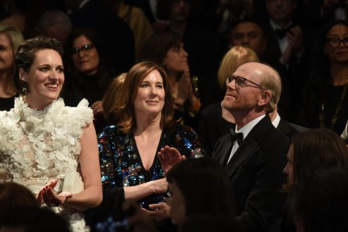 CANNES, FRANCE - MAY 15: (L-R) Actress Phoebe Waller-Bridge, Kathleen Kennedy and director Ron Howard attend the European Premiere of 'Solo: A Star Wars Story' at Palais des Festivals on May 15, 2018 in Cannes, France. (Photo by Serge) *** Local Caption *** Phoebe Waller-Bridge, Kathleen Kennedy, Ron Howard