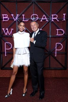 ROME, ITALY - JUNE 28: Laura Harrier and Jean-Christophe Babin attend BVLGARI Dinner & Party at Stadio dei Marmi on June 28, 2018 in Rome, Italy. (Photo by Daniele Venturelli/Daniele Venturelli/Getty Images for Bvlgari )