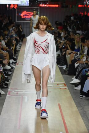 PARIS, FRANCE - JUNE 21: A model walks the runway during the Li-Ning Spring/Summer 2019 show as part of Paris Fashion Week at Les Nuits Fauves on June 21, 2018 in Paris, France. (Photo by Getty Images/Getty Images for Li-Ning)