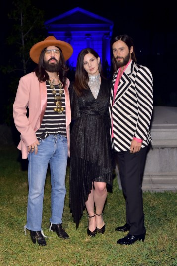 HOLLYWOOD, CA - NOVEMBER 02: (L-R) Gucci Creative Director Alessandro Michele, Lana Del Rey, and Jared Leto attend Gucci Guilty Launch Party at Hollywood Forever on November 2, 2018 in Hollywood, California. (Photo by Stefanie Keenan/Getty Images for GUCCI)
