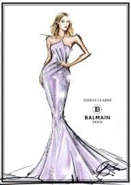 Emilia Clarke Balmain x Swarovski Sketch