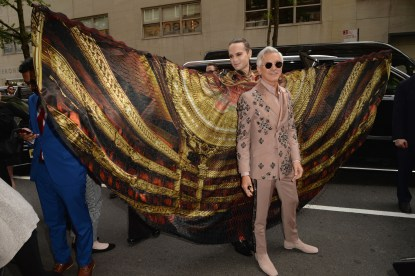 NEW YORK, NEW YORK - MAY 06: Jordan Roth and Baz Luhrmann depart The Mark Hotel for the 2019 'Camp: Notes on Fashion' Met Gala on May 06, 2019 in New York City. (Photo by Andrew Toth/Getty Images for The Mark Hotel)