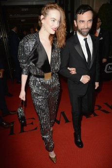 NEW YORK, NEW YORK - MAY 06: Emma Stone and Nicolas Ghesquière depart The Mark Hotel for the 2019 'Camp: Notes on Fashion' Met Gala on May 06, 2019 in New York City. (Photo by Andrew Toth/Getty Images for The Mark Hotel)