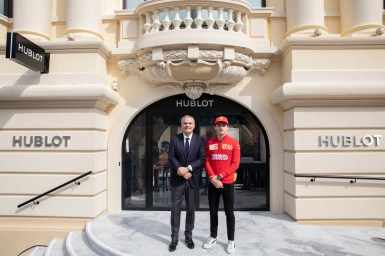 Ricardo Guadalupe & Charles Leclerc in front of Hublot store - Monaco Opening Event