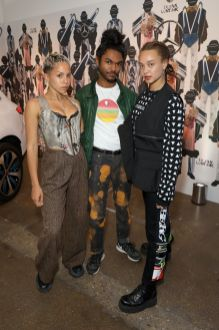 LONDON, ENGLAND - JUNE 08: (L-R) Poppy Ajudha, Amesh Wijesekera and a guest attend the celebration by Mercedes-Benz and Lena Waithe for How To in London on June 08, 2019 in London, England. (Photo by Darren Gerrish/WireImage for Mercedes-Benz and Lena Waithe )