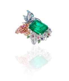 ANNA HU Butterfly Rose Ring in Emerald_side