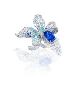 ANNA HU Enchanted Orchid Ring in Blue Sapphire