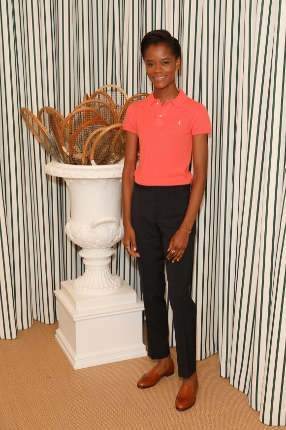 LONDON, ENGLAND - JULY 14: Letitia Wright in Polo Ralph Lauren attends the Polo Ralph Lauren suite during the Wimbledon Tennis Championship Men's Final at All England Lawn Tennis and Croquet Club on July 14, 2019 in London, England. (Photo by Darren Gerrish/WireImage)