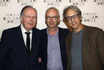 LONDON, ENGLAND - OCTOBER 01: (L-R) Anthony Reynolds, James Lingwood and Lewis Klahr attend The Maxxi Bulgari Prize on October 01, 2019 in London, England. (Photo by Tristan Fewings/Getty Images for Maxxi)