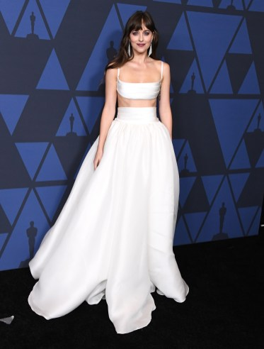 HOLLYWOOD, CALIFORNIA - OCTOBER 27: Dakota Johnson arrives at the Academy Of Motion Picture Arts And Sciences' 11th Annual Governors Awards at The Ray Dolby Ballroom at Hollywood & Highland Center on October 27, 2019 in Hollywood, California. (Photo by Steve Granitz/WireImage)