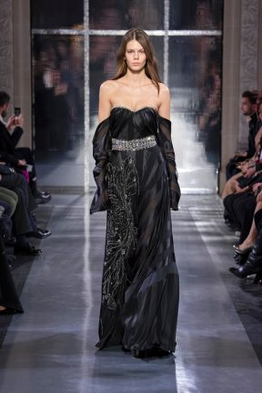 Model wears an outfit , as part of the haute couture 2020, fashion week, Paris, France, from the house of Azzaro Couture