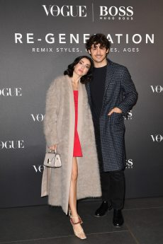 MILAN, ITALY - FEBRUARY 21: Francesca Rocco and Giovanni Masiero arrive for the BOSS & VOGUE Italia Event at Hotel Viu Milan on February 21, 2020 in Milan, Italy. (Photo by Jacopo M. Raule/Getty Images for Boss)