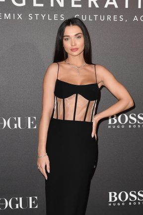 MILAN, ITALY - FEBRUARY 21: Amy Jackson arrives for the BOSS & VOGUE Italia Event at Hotel Viu Milan on February 21, 2020 in Milan, Italy. (Photo by Jacopo M. Raule/Getty Images for Boss)