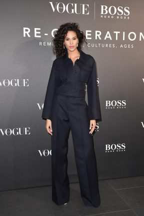 MILAN, ITALY - FEBRUARY 21: Cindy Bruna arrives for the BOSS & VOGUE Italia Event at Hotel Viu Milan on February 21, 2020 in Milan, Italy. (Photo by Jacopo M. Raule/Getty Images for Boss)