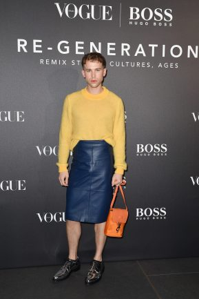 MILAN, ITALY - FEBRUARY 21: Tommy Dorfman arrives for the BOSS & VOGUE Italia Event at Hotel Viu Milan on February 21, 2020 in Milan, Italy. (Photo by Jacopo M. Raule/Getty Images for Boss)
