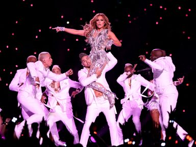 MIAMI, FLORIDA - FEBRUARY 02: Jennifer Lopez performs onstage during the Pepsi Super Bowl LIV Halftime Show at Hard Rock Stadium on February 02, 2020 in Miami, Florida. (Photo by Kevin Mazur/WireImage)