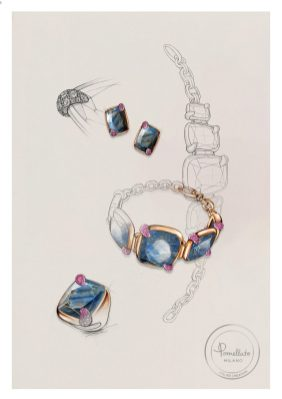 Denim Lapis Lazuli Collection 100% SUSTAINABLE by Pomellato_sketch