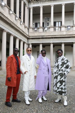 MILAN, ITALY - SEPTEMBER 25: Erick Okam, Chris Cross, Marvin Appiah Korang and Marvin Mario Bahome attend the BOSS Fashion Show during the Milan Fashion Week Spring/Summer 2021 on September 25, 2020 in Milan, Italy. (Photo by Vittorio Zunino Celotto/Getty Images for HugoBoss)