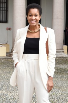 MILAN, ITALY - SEPTEMBER 25: Tamu McPherson attends the BOSS Fashion Show during the Milan Fashion Week Spring/Summer 2021 on September 25, 2020 in Milan, Italy. (Photo by Stefania M. D'Alessandro/Getty Images for HugoBoss)