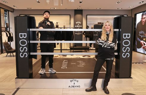 LONDON, ENGLAND - FEBRUARY 24: (EXCLUSIVE FOR EVENING STANDARD) Hugo Chegwin of Kurupt FM and Ellie Goulding attend the unveiling of the BOSS x AJBXNG second capsule collection at BOSS Store, Regent Street, on February 24, 2021 in London, England. Pic Credit: Dave Benett