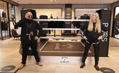 LONDON, ENGLAND - FEBRUARY 24: (EXCLUSIVE FOR EVENING STANDARD) Asim Chaudhry aka Chabuddy G of Kurupt FM and Ellie Goulding attend the unveiling of the BOSS x AJBXNG second capsule collection at BOSS Store, Regent Street, on February 24, 2021 in London, England. Pic Credit: Dave Benett