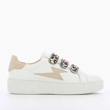 Flash leather sneakers + natural leopard velcro