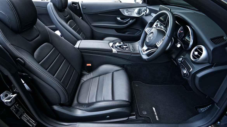 black mercedes benz sports car interior