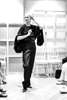 A Model wearing an outfit from the Haute Couture collections, original creation, in Paris, from the house of Moda Povera