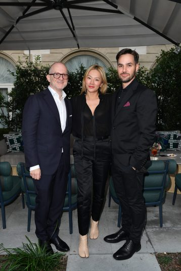 MILAN, ITALY - SEPTEMBER 23: Joshua Schulman, Tina Leung and Robin Gendron are seen at Michael Kors intimate Cocktail Party in Celebration of his 40th Anniversary on September 23, 2021 in Milan, Italy. (Photo by Jacopo M. Raule/Getty Images for Michael Kors)