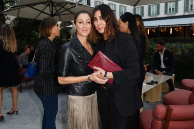 MILAN, ITALY - SEPTEMBER 23: Francesca Leoni and Eleonora Pratelli are seen at Michael Kors intimate Cocktail Party in Celebration of his 40th Anniversary on September 23, 2021 in Milan, Italy. (Photo by Jacopo M. Raule/Getty Images for Michael Kors)