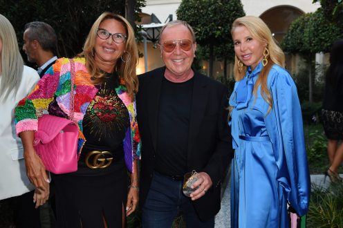 MILAN, ITALY - SEPTEMBER 23: Donata Berger, Michael Kors and Arianna Berger are seen at Michael Kors intimate Cocktail Party in Celebration of his 40th Anniversary on September 23, 2021 in Milan, Italy. (Photo by Jacopo M. Raule/Getty Images for Michael Kors)