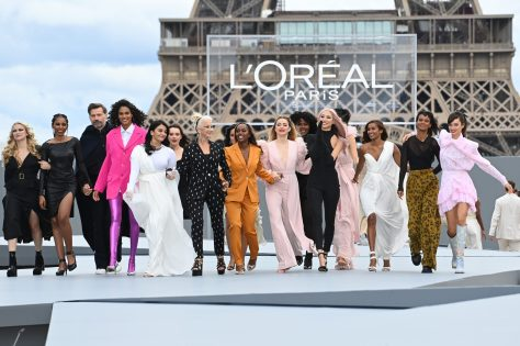 """PARIS, FRANCE - OCTOBER 03: <> walks the runway during """"Le Defile L'Oreal Paris 2021"""" as part of Paris Fashion Week on October 03, 2021 in Paris, France. (Photo by Pascal Le Segretain/Getty Images For L'Oreal)"""