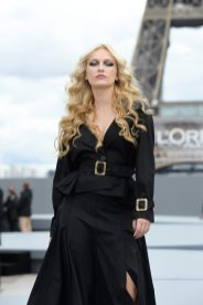 """PARIS, FRANCE - OCTOBER 03: Camille Razat walks the runway during """"Le Defile L'Oreal Paris 2021"""" as part of Paris Fashion Week on October 03, 2021 in Paris, France. (Photo by Kristy Sparow/Getty Images for L'Oreal)"""