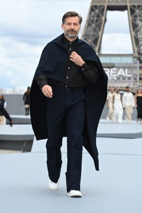 """PARIS, FRANCE - OCTOBER 03: Nikolaj Coster-Waldau walks the runway during """"Le Defile L'Oreal Paris 2021"""" as part of Paris Fashion Week on October 03, 2021 in Paris, France. (Photo by Pascal Le Segretain/Getty Images For L'Oreal)"""