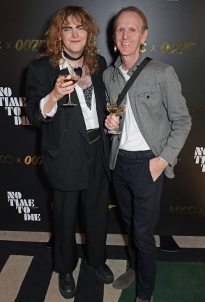 LONDON, ENGLAND - SEPTEMBER 29: Chandler Tregaskes (L) and father attend a private screening of 'No Time To Die' hosted by Michael Kors in celebration of the Michael Kors Bond 007 Capsule Collection partnership, at the Everyman Chelsea on September 29, 2021 in London, England. (Photo by David M. Benett/Dave Benett/Getty Images for Michael Kors)