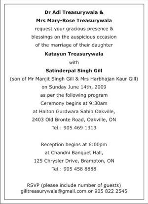 Sikh Wedding Invitation Wordings