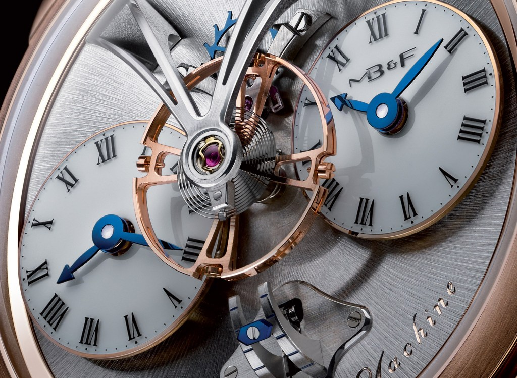 The dial of the MB&F LM (Legacy Machine) 1, one of Maximilian Busser's first designs.