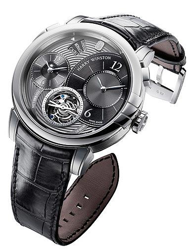 Harry Winston Midnight GMT Tourbillon Platinum, wrist watch with one-minute tourbillon
