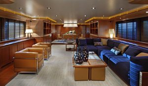 Luxurious soft furnishings and natural light abound the CRN Rubeccan Yacht