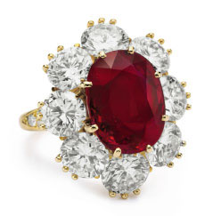 Elizabeth Taylors Ruby, Diamond and Yellow Gold Van Cleef & Arpels Ring. © Christie's Images 2011