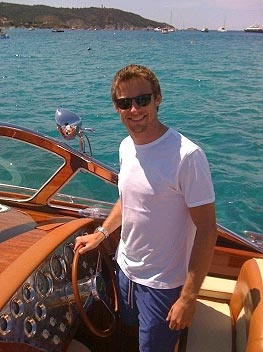 Jenson Button takes the wheel of a 42ft J Craft Torpedo R motor launch
