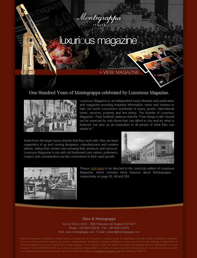 Montegrappa support Luxurious Magazines efforts by sending newsletter to its customers